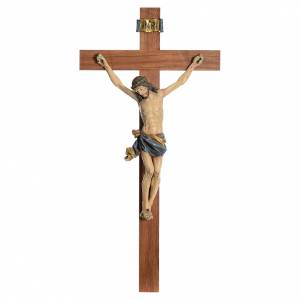 Wooden crucifixes: Crucifix, straight, Corpus model in antique gold Valgardena wood
