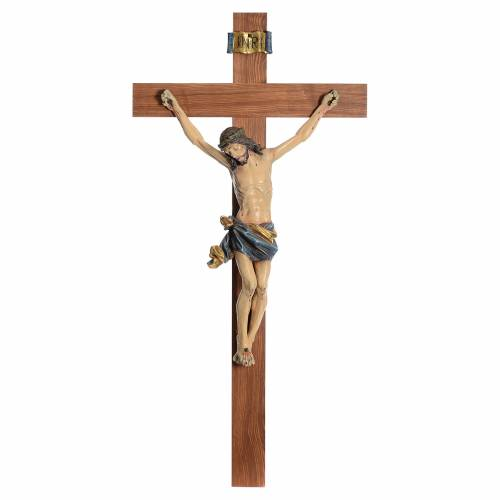 Crucifix, straight, Corpus model in antique gold Valgardena wood s1