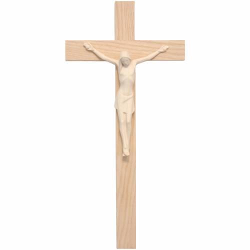 Crucifix stylisé bois naturel Valgardena s1