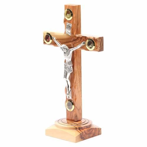 Crucifix sur base olivier Terre Sainte terre et grains 23 cm s2