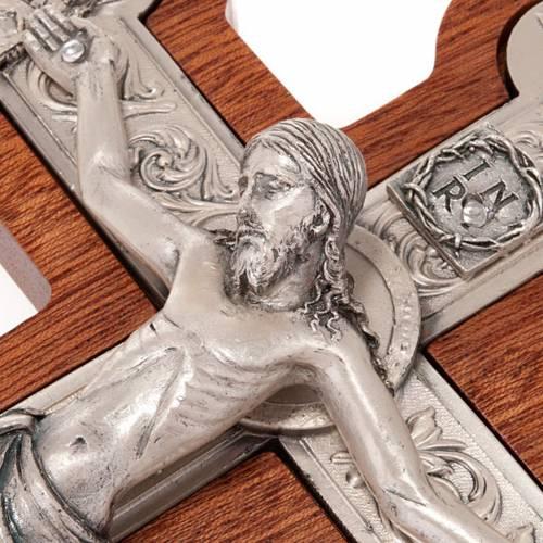 Crucifix trois lobe, bois et métal argenté s3