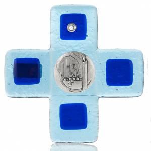 Crucifix en plexiglass et verre: Crucifix verre Murano vert avec planque IHS
