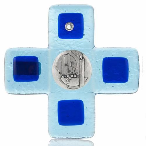Crucifix verre Murano vert avec planque IHS s1