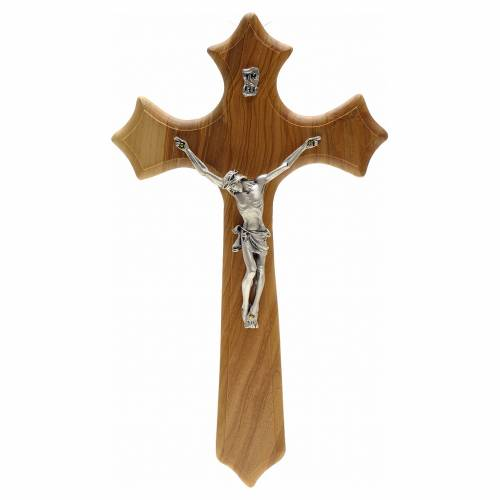 Crucifix with 3 points, in olive wood with Christ's body in silver metal s1