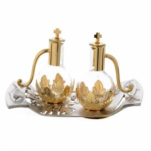 Metal cruets: Cruet set with tray in pewter with leaves and fish