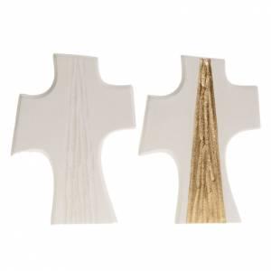 Íconos, Cuadritos, Cruces: Cruz de confirmación estilizada Blanco con dorado 15 cm