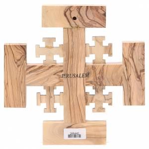 Cruz de Jerusalén madera de olivo y tierra de la Tierrasanta 19 cm s2