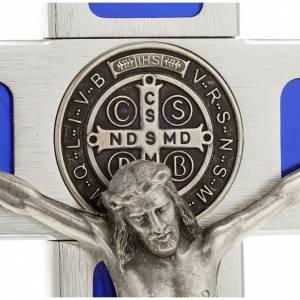 Cruces y medallas de San Benito: Cruz de mesa de latón con esmalto azul de Jesús