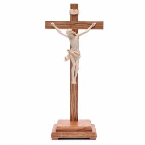 Cruz de mesa modelo Corpus madera Valgardena encerado natural s1