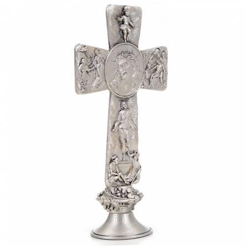 Cruz de mesa plateada imagen Deposición Resurrección s4