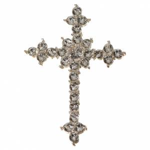 Colgantes, cruces y broches: Cruz de Plata 800 y  strass de 3.5x4,5 cm