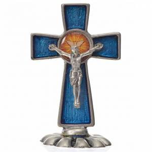 Crucifijos de mesa: Cruz espíritu santo de mesa esmalte azul zamak 5.2x3.5 cm.