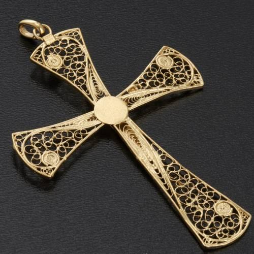 Cruz filigrana de plata 800 con baño de oro, 5,47gr s7