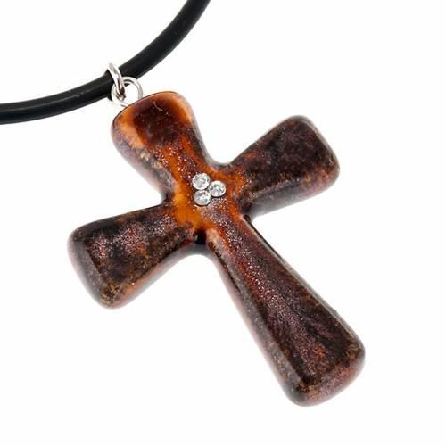 Cruz marrón con 3 cristales Swarovski 2