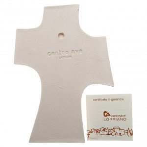 Íconos, cuadros y estatuillas: Cruz Primera Comunión Arcilla blanca y dorado 15cm
