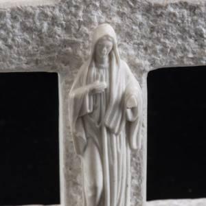 Cruz Virgen de Medjugorje mármol blanco s4