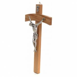 Curved crucifix in oak wood and body in metal s2