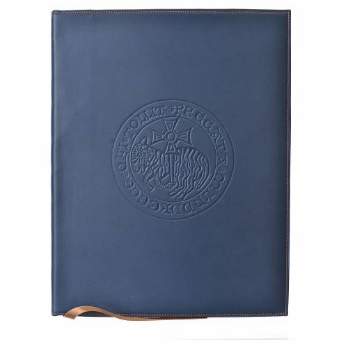 Custodia portariti A4 Agnello impresso blu Bethléem s1