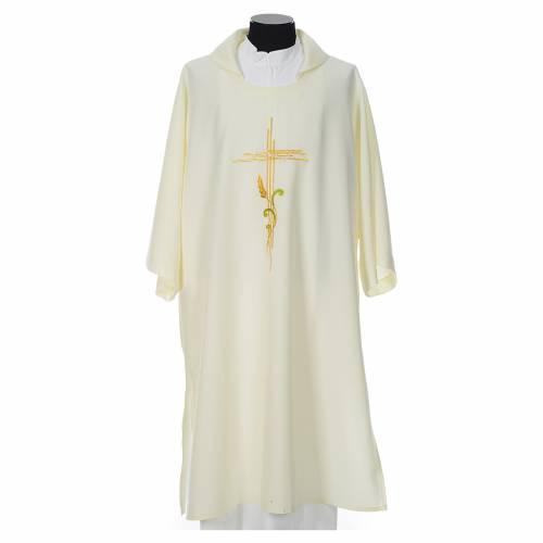 Dalmatic 100% polyester stylised cross, ear of wheat s4