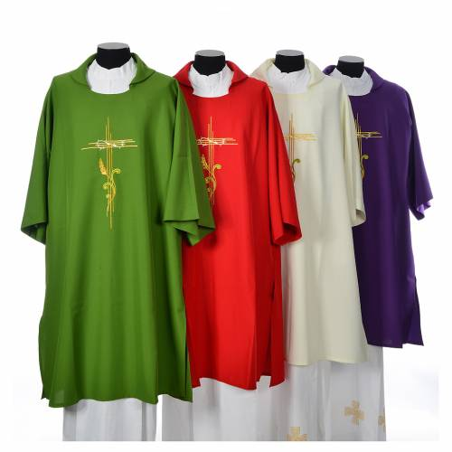 Dalmatic 100% polyester stylised cross, ear of wheat s1