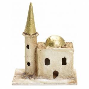 Maisons, milieux, ateliers, puits: Décor crèche minaret avec tour 13x10x6cm