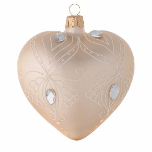 Décoration Noël coeur verre or/blanc 100 mm s1