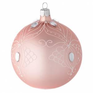 Décoration sapin Noël boule verre rose décor blanc 100 mm s2