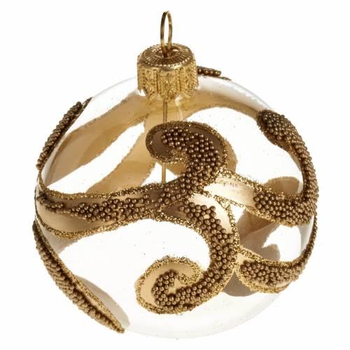 Albero Natale palla vetro dorata glitter 6 cm s1