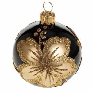 Decoro Albero Natale, palla vetro nero fiore oro 6 cm s1