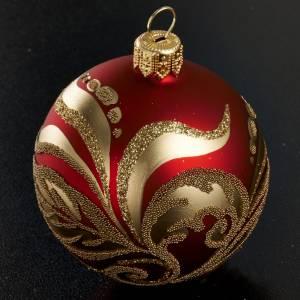 Decoro Albero Natale, palla vetro rossa oro 6 cm s2