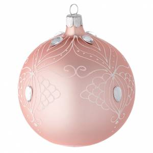 Decoro palla vetro rosa decoro bianco 100 mm s2