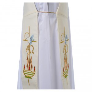 Diaconal stole in 100% polyester, lamp, Alpha and Omega s4