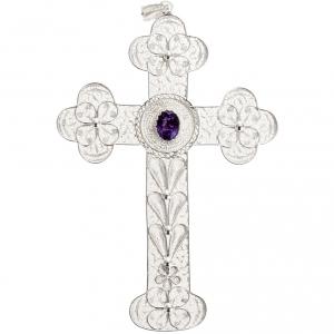 Dije de cruz  de filigrana con amatista, de plata 800 s3