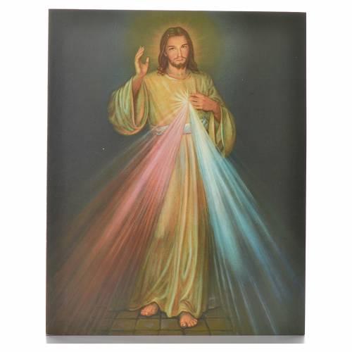Divine Mercy print on wood 25x20cm s1