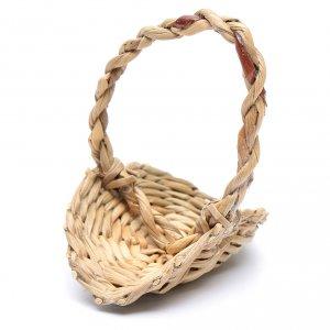 Home accessories miniatures: DIY nativity scene wicker basket with handle 5x5 cm