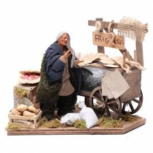 Donna con carretto di frittelle 10 cm presepe napoletano s1