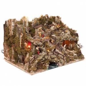Krippe Hütten und Grotten: Dorf für Krippe mit Feuer, Lichtern, Wasserfall, See und Mühle 56x76x48 cm