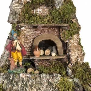 Krippe Hütten und Grotten: Dorf für Krippe neapolitanischer Stil mit Hütte Lichter Brunnen Feuer