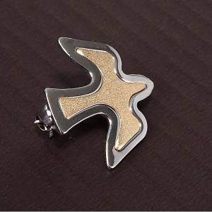 Pendants, crosses and pins: Dove brooch in bicoloured silver