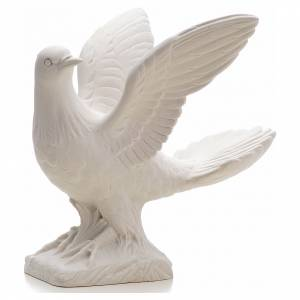 Reconstituted marble religious statues: Dove with open wings statue in reconstituted marble, 25 cm