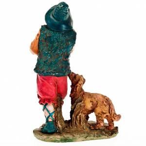 Krippenfiguren: Dudelsack-Spieler mit Hund fuer Krippe 13 Zentimeter