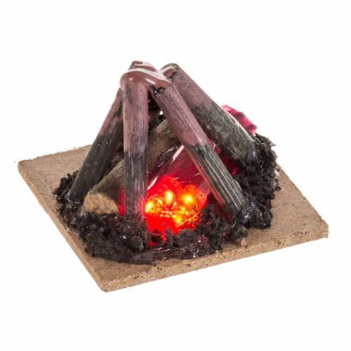 Electric fire for nativities, 2 intermittent LED lights 5x5cm s1