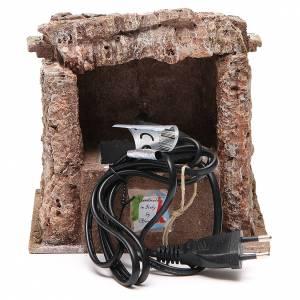 Electric Fountain nativity with bricks 18x16x16cm s4