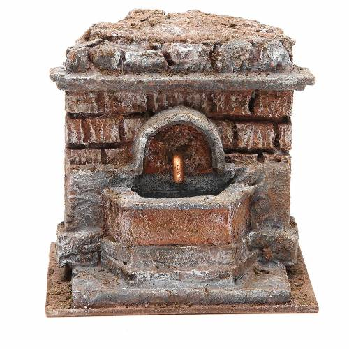 Electric Fountain nativity with bricks 18x16x16cm s1