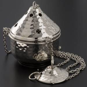 Encensoirs et navettes: Encensoir repoussé nickelé ou doré