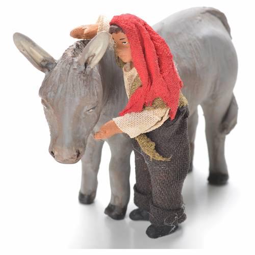Enfant debout avec âne 10 cm crèche napolitaine s1