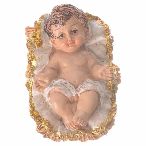Enfant Jésus avec berceau h 6 cm résine s1
