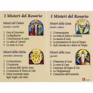 Estampa Misterio Rosario plastificado ITALIANO oración s1
