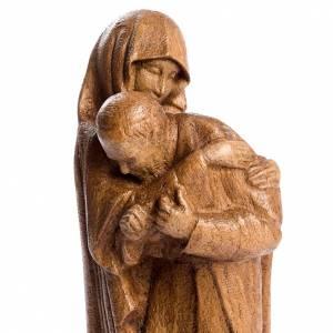 Imágenes de madera natural: María con Juan Pablo II