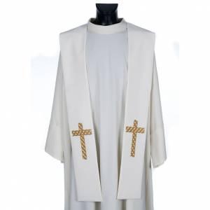 Estolas: Estola sacerdotal ecru cruz dorada bordada